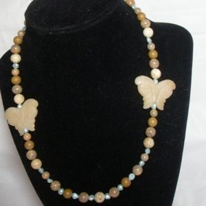 Carved Butterfly Agate gemstone necklace, pearls